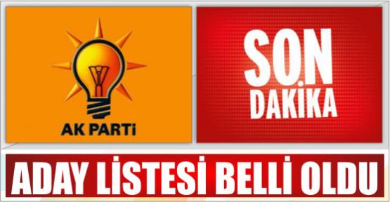 AK PARTİ ADAY LİSTESİ BELİRLENDİ