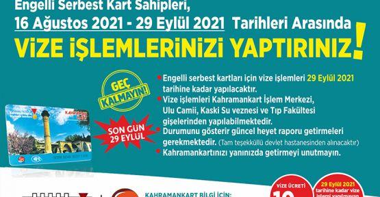 ENGELLİ SERBEST KART VİZE İŞLEMLERİ BAŞLIYOR