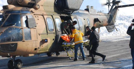Hamile Kadın Askeri Helikopter'le kurtarıldı
