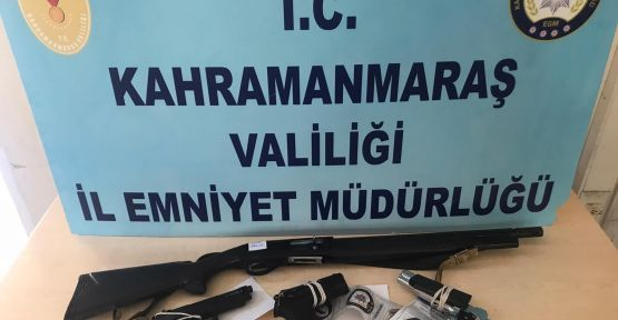KAHRAMANMARAŞ'TA 7 ADET SİLAH ELE GEÇİRİLDİ