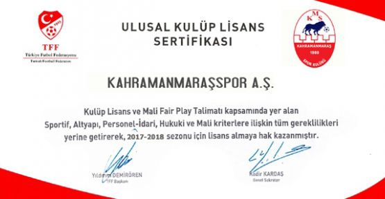 TFF'DEN KMS'YE ULUSAL LİSANS